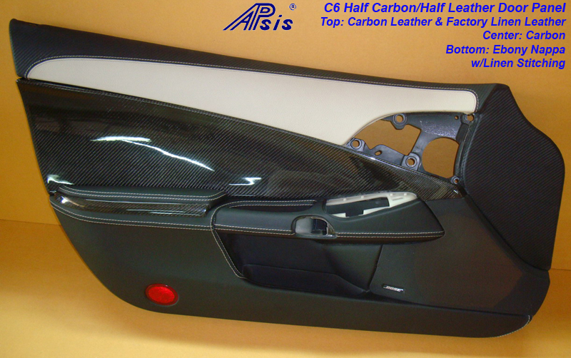C6 Door Panel-carbon+nappa w-linen+carbon leather on top-df-1