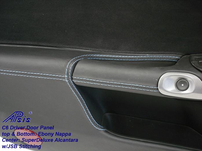 C6 Door Panel-ebony + alcantara w-jsb stitching-close shot-driver-2