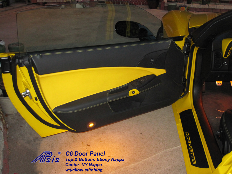 C6 Door Panel-ebony + vy w-yellow stitching-driver-installed-3