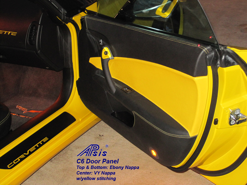 C6 Door Panel-ebony + vy w-yellow stitching-pass-installed-1