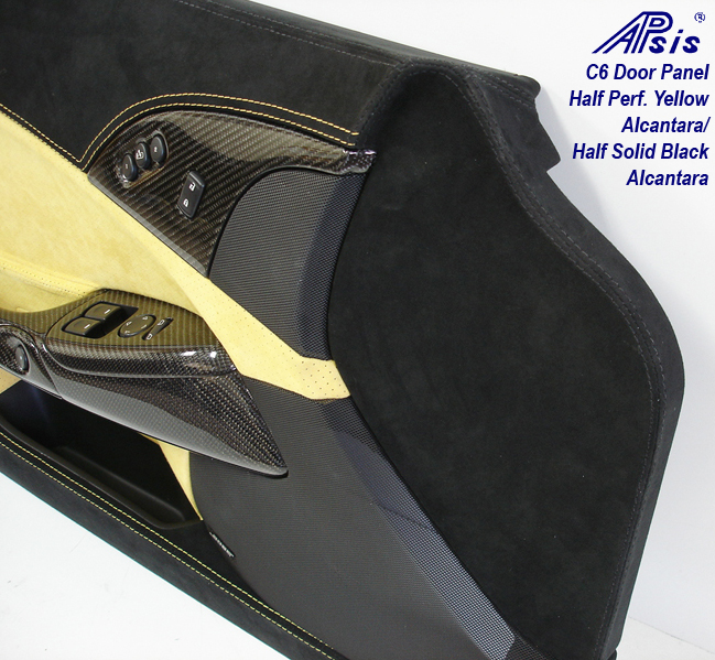 C6 Door Panel-perf yellow alcan + solid black alcan w-yellow stitching-close shot-10