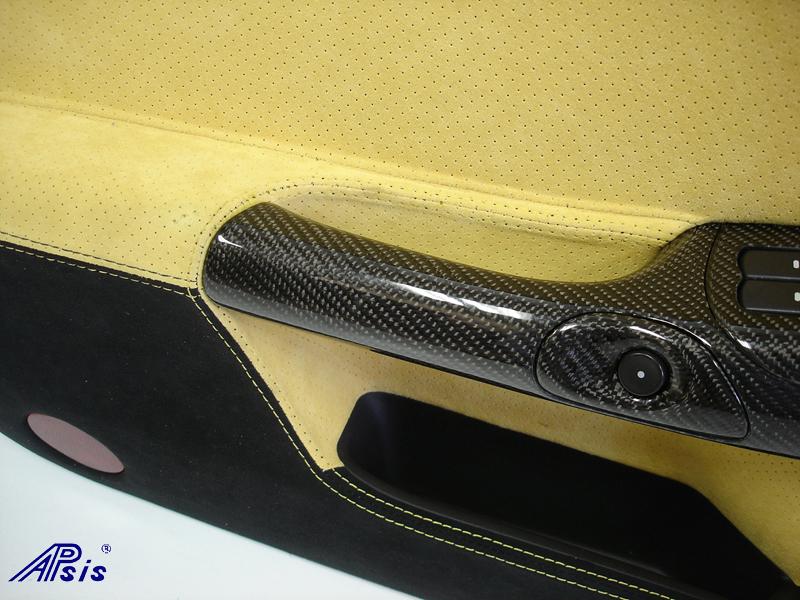 C6 Door Panel-perf yellow alcan + solid black alcan w-yellow stitching-close shot-7