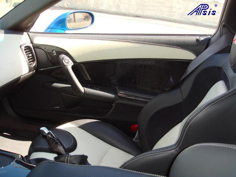 C6 Door Panel w-carbon + linen leather-installed-1