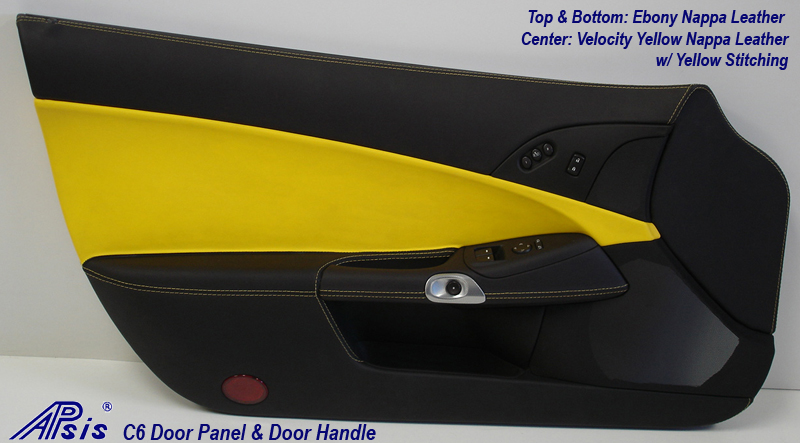 C6 Driver Door Panel & Door Handle - Nappa Ebony & VY w-Yellow Stitching