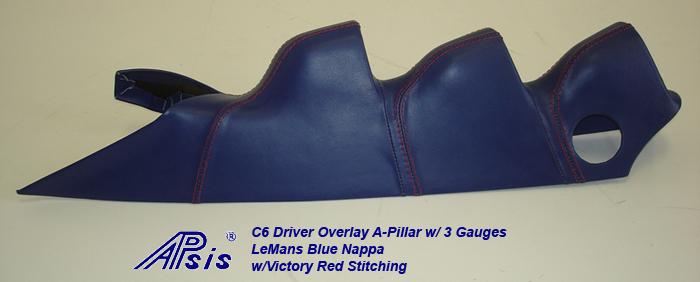 C6 Driver Overlay A-Pillar w-3 gauge-LMB w-VR stitching-individual-6