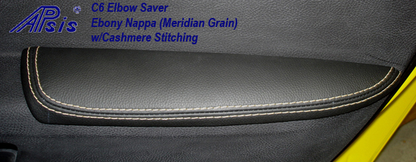 C6 Elbow Saver-ebony w-cashmere stitching-installed-1-crop