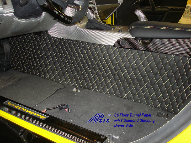 C6 Floor Tunnel Panel-ebony w-yellow stitching-installed-driver-1