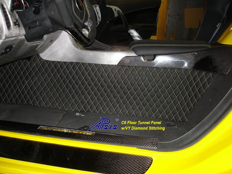 C6 Floor Tunnel Panel-ebony w-yellow stitching-installed-driver-2