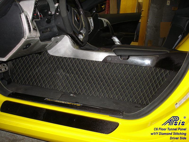 C6 Floor Tunnel Panel-ebony w-yellow stitching-installed-driver-4