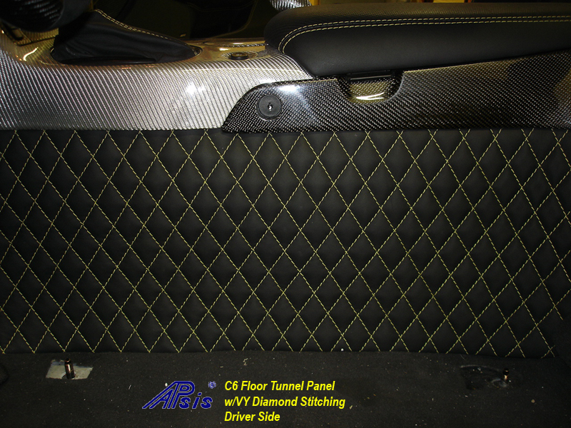 C6 Floor Tunnel Panel-ebony w-yellow stitching-installed-driver-5-close shot