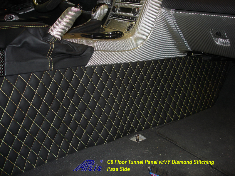 C6 Floor Tunnel Panel w-perfect yellow stitching-installed-pass-3