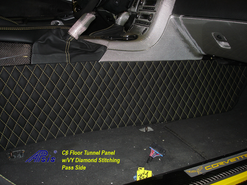 C6 Floor Tunnel Panel w-perfect yellow stitching-installed-pass-4