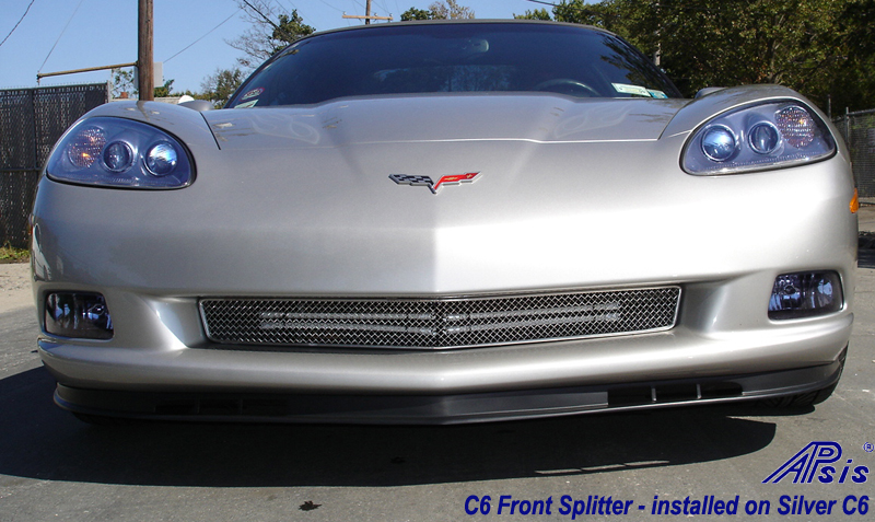 C6 Front Splitter -Z06 Style Side Front View 05-UP - 800 - on Silver C6 -2