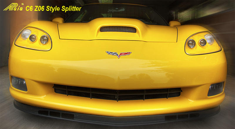 C6 Front Splitter -Z06 Style Side Front View 05-UP - 800 - on Yellow C6 -3