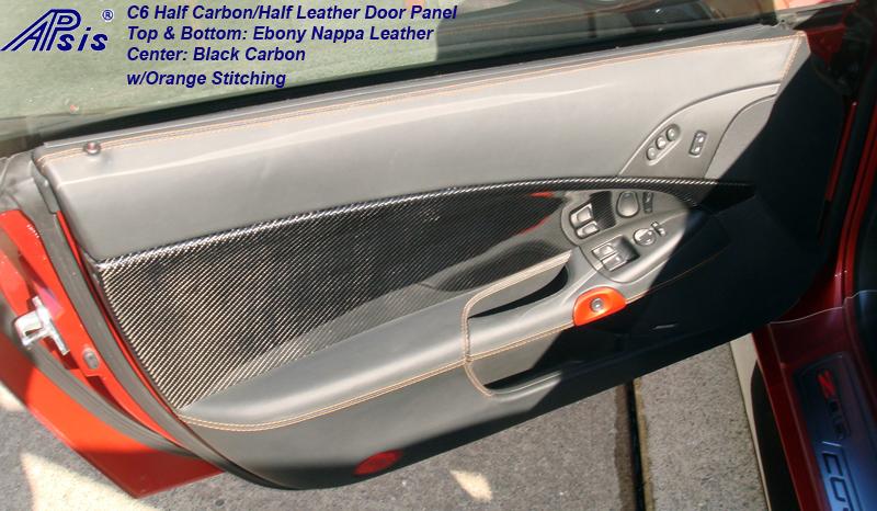 C6 Half Carbon Half Leather Door Panel w-orange stitching-DF-installed-1