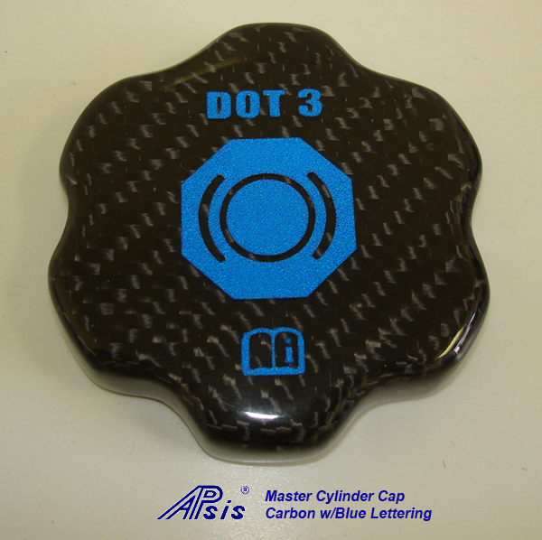 C6 Master Cylinder Cap-CF w-blue lettering-individual-1
