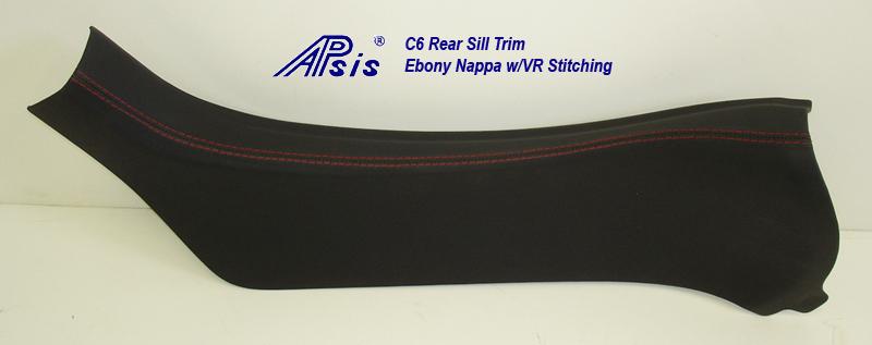 C6 Rear Sill Trim-ebony w-vr stitching-individual-1