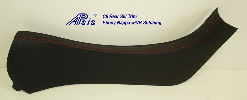 C6 Rear Sill Trim-ebony w-vr stitching-individual-2