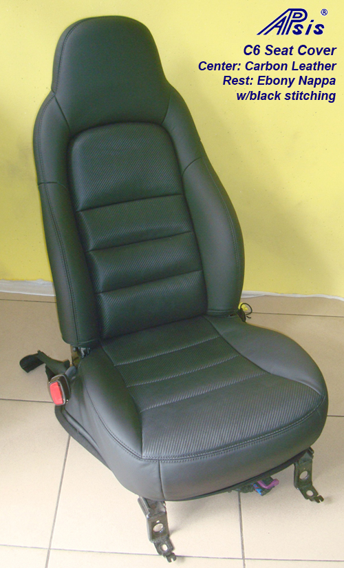 C6 Seat Cover w-carbon leather w-black stitching-1