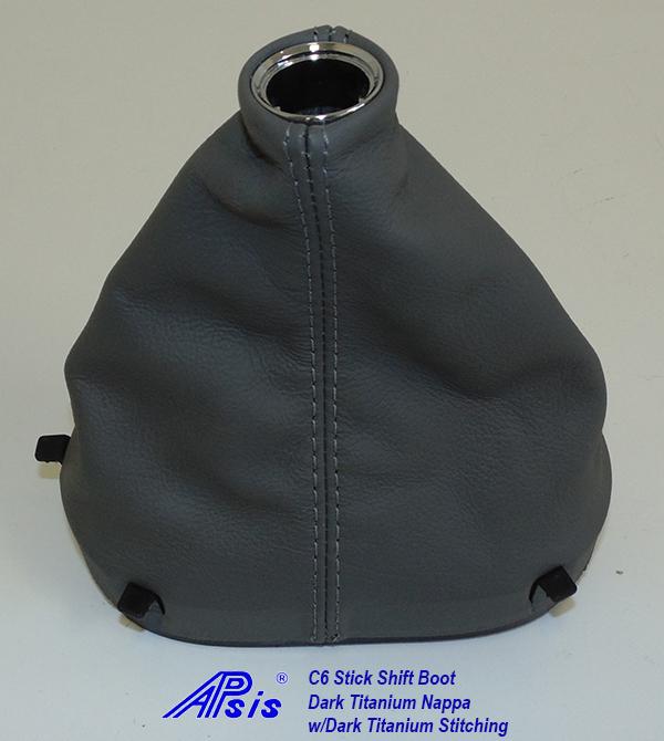 C6 Stick Shift Boot-Dk Titanium w-dk titanium stitching w-chrome ring-1