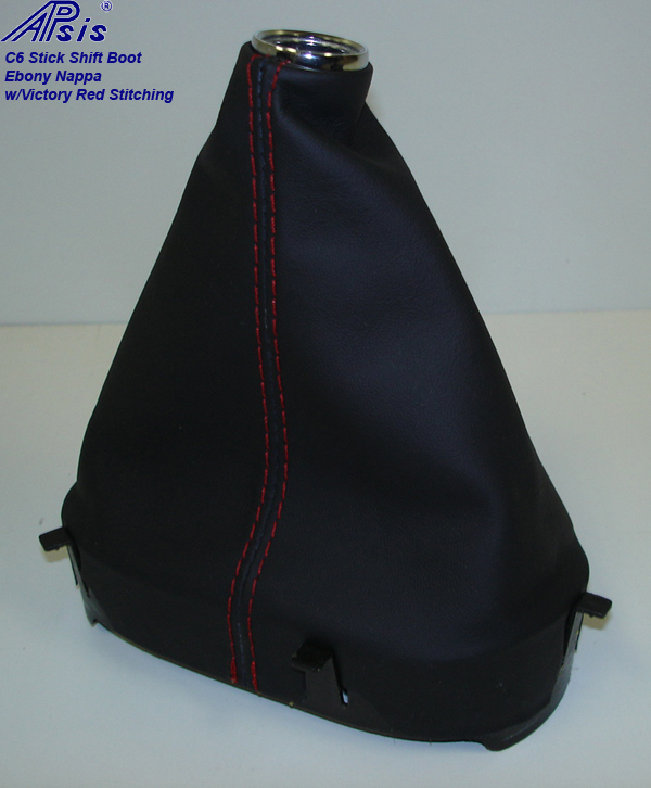 C6 Stick Shift Boot-ebony w-red stitching-1