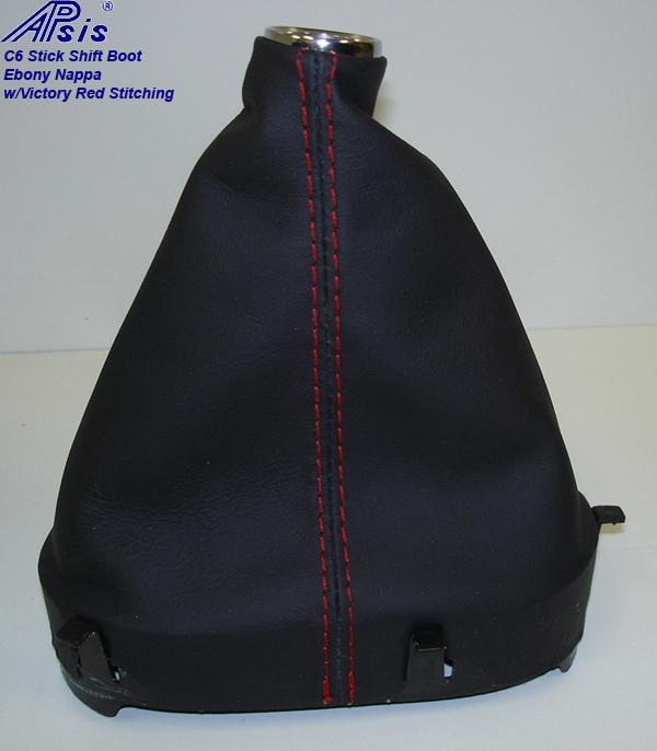 C6 Stick Shift Boot-ebony w-red stitching-2