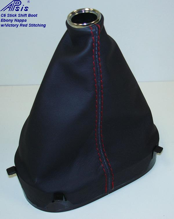 C6 Stick Shift Boot-ebony w-red stitching-3