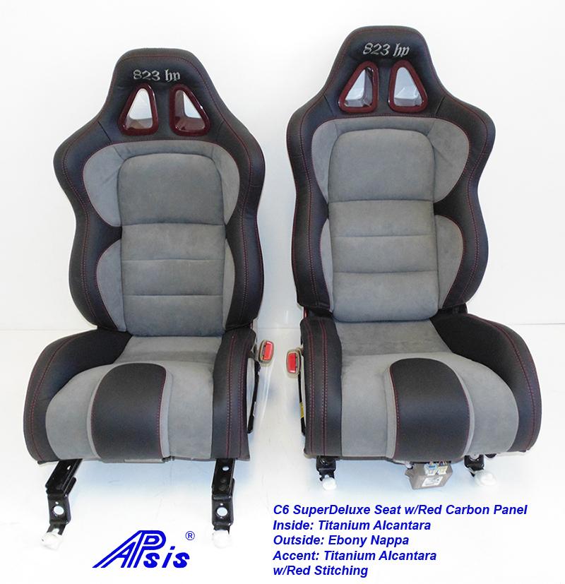 C6 SuperDeluxe Seat-ebony+titanium alcantara w-red carbon panel-pair-1