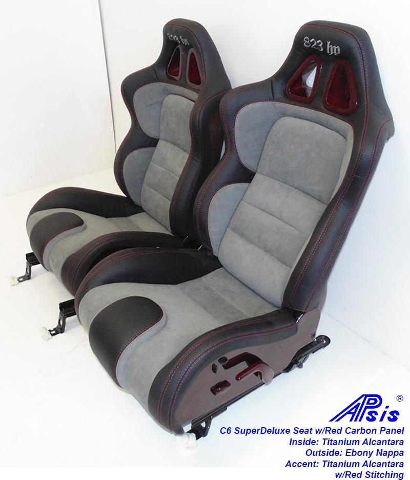 C6 SuperDeluxe Seat-ebony+titanium alcantara w-red carbon panel-pair-3