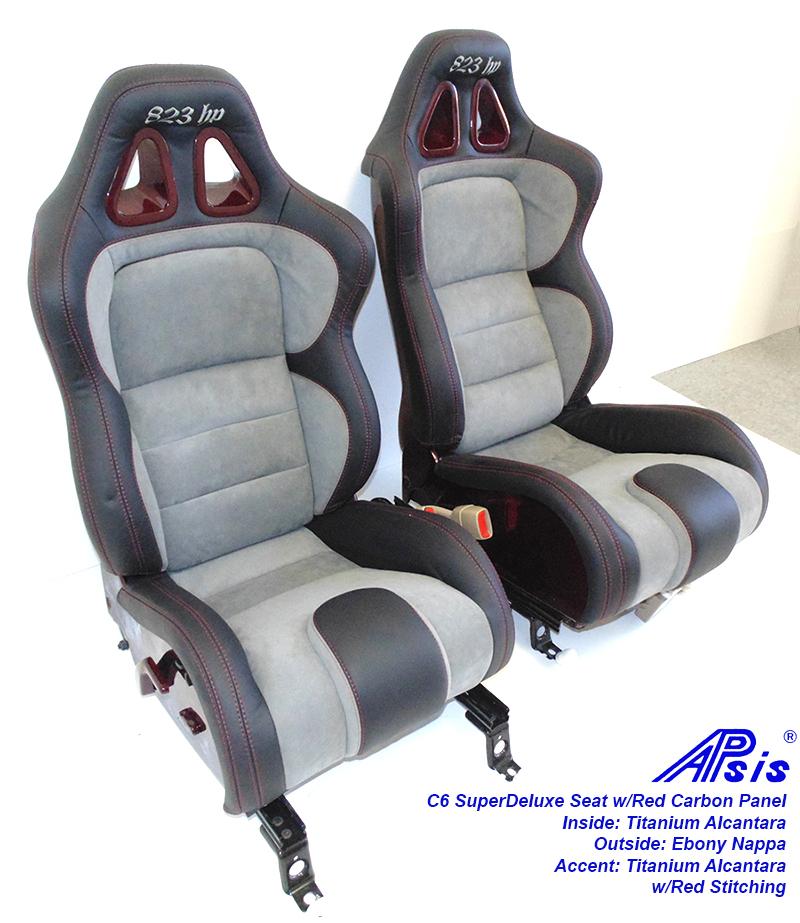 C6 SuperDeluxe Seat-ebony+titanium alcantara w-red carbon panel-pair-4