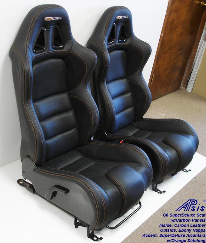C6 SuperDeluxe Seat w-carbon-EB+CL+AL w-orange stitching-pair-side view-4