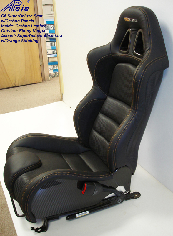 C6 SuperDeluxe Seat w-carbon-EB+CL+AL w-orange stitching-pass-side view-1