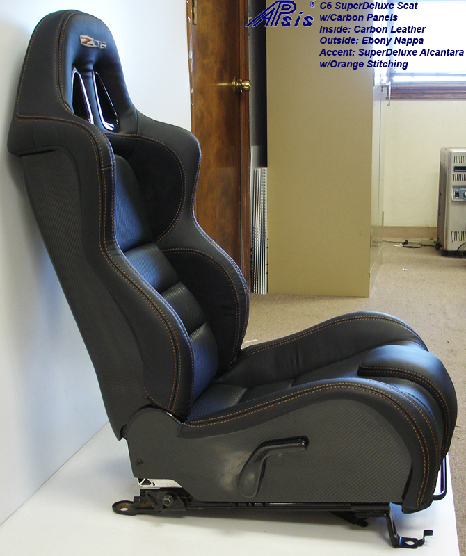 C6 SuperDeluxe Seat w-carbon-EB+CL+AL w-orange stitching-pass-side view-3