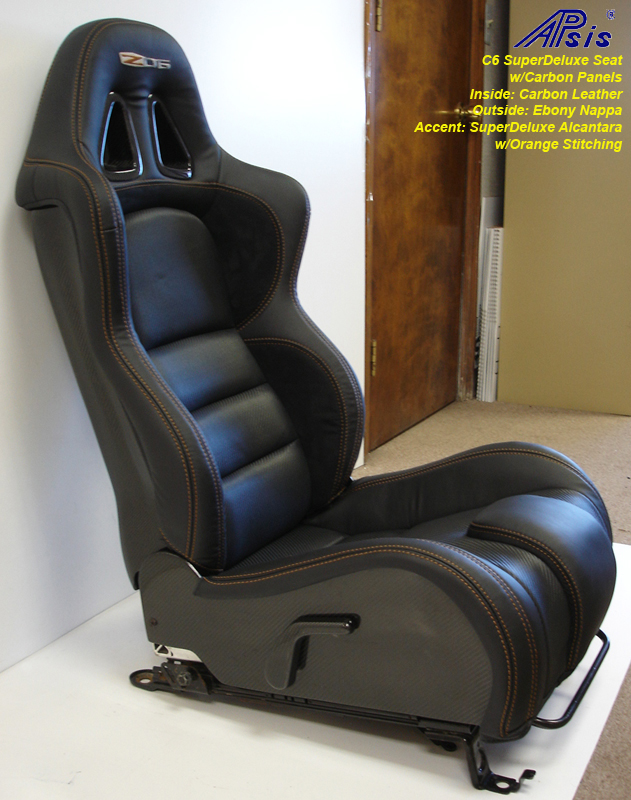 C6 SuperDeluxe Seat w-carbon-EB+CL+AL w-orange stitching-pass-side view-4