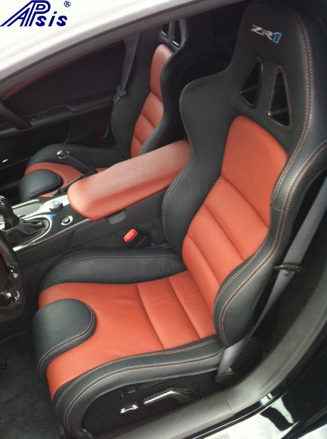 C6 SuperDeluxe Seat w-carbon w-sienna + ebony w-zr1 logo-installed-1
