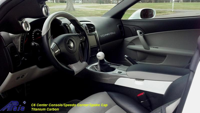 C6 Titanium CF-center console+speedo corner+spoke cap-3