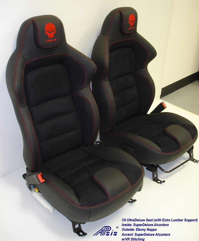 C6 UltraDeluxe Seat-EB+AL w-red stutching w-c6r logo-pair-side view-1