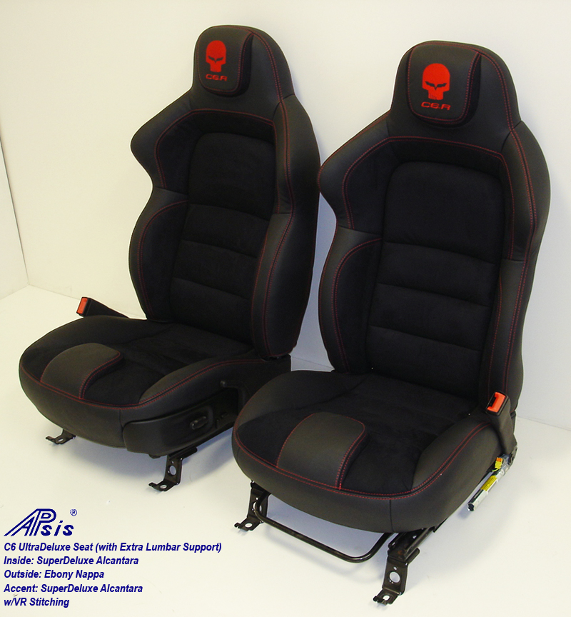 C6 UltraDeluxe Seat-EB+AL w-red stutching w-c6r logo-pair-side view-2