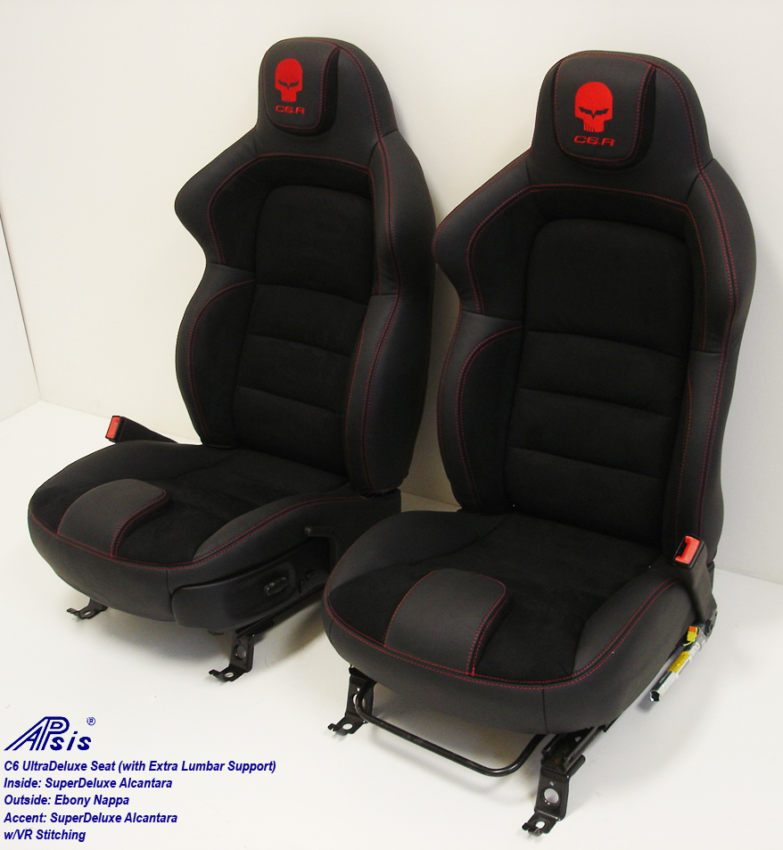 C6 UltraDeluxe Seat-EB+AL w-red stutching w-c6r logo-pair-side view-2a