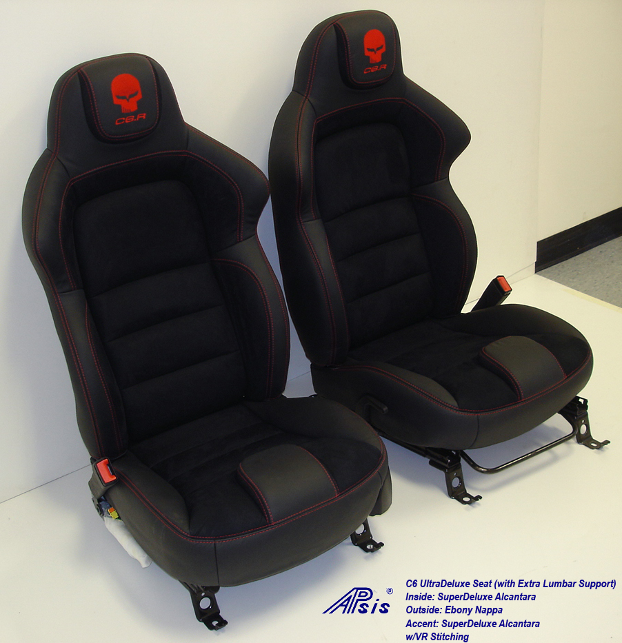 C6 UltraDeluxe Seat-EB+AL w-red stutching w-c6r logo-pair-side view-5