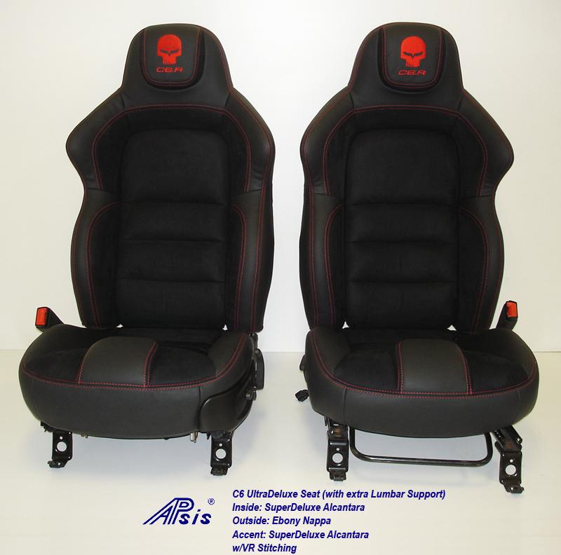 C6 UltraDeluxe Seat-EB+AL w-red stutching w-c6r logo-pair-straight view-2