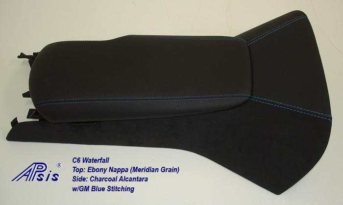 C6 Waterfall+Armrest-ebony w-gm blue stitching-1a