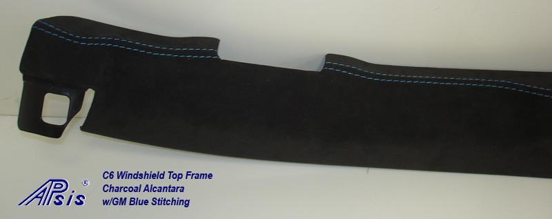 C6 Windshield Top Frame-charcoal alcantara w-gm blue stitching-3a close shot