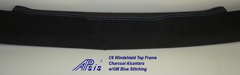 C6 Windshield Top Frame-charcoal alcantara w-gm blue stitching-4 close shot