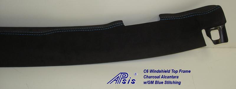 C6 Windshield Top Frame-charcoal alcantara w-gm blue stitching-5 close shot