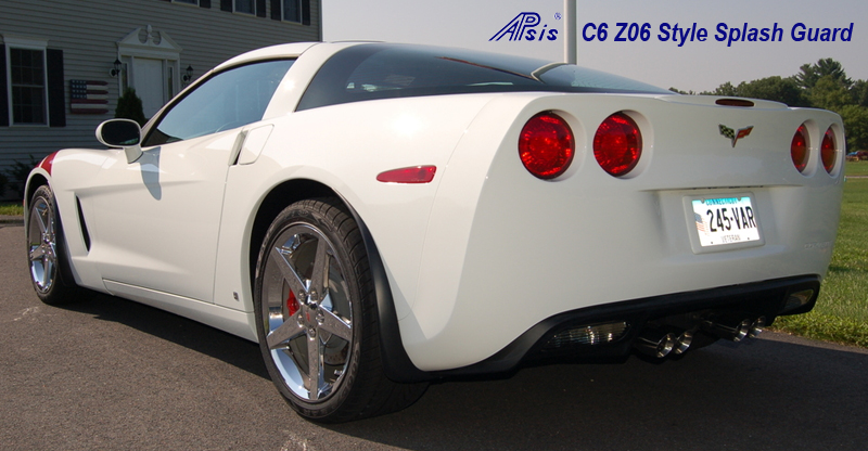 C6  Z06 Style Splash Guard 05-UP - Long Version on White C6 - 1