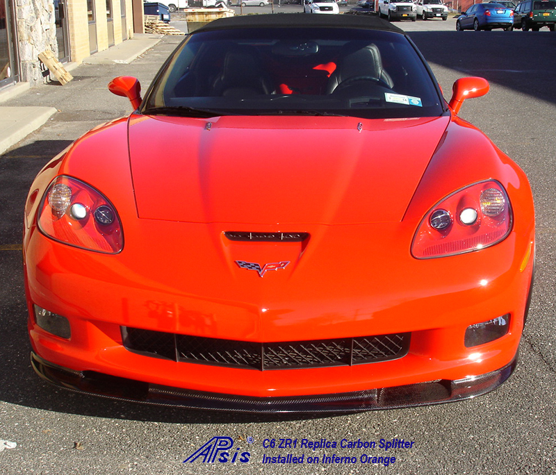 C6 ZR1 CF Splitter installed on inferno orange-1