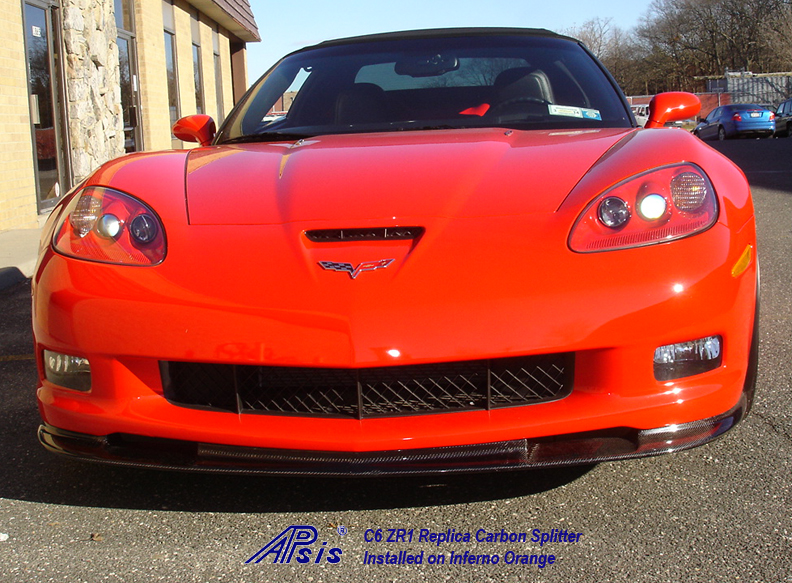 C6 ZR1 CF Splitter installed on inferno orange-2