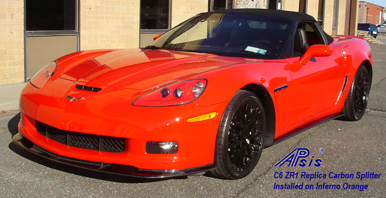 C6 ZR1 Replica CF Side Skirt installed on inferno orange-1