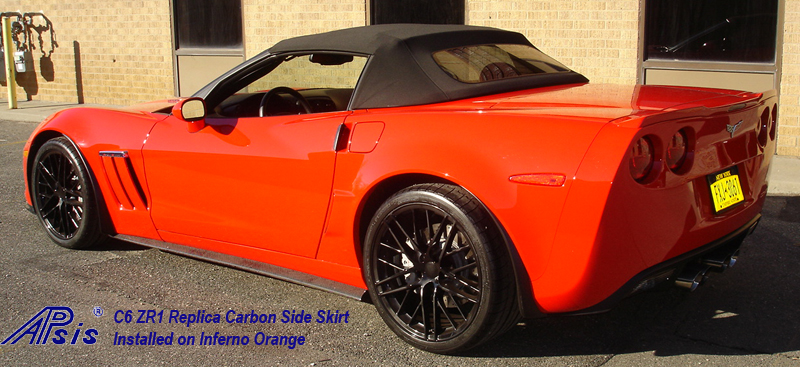 C6 ZR1 Replica CF Side Skirt installed on inferno orange-3